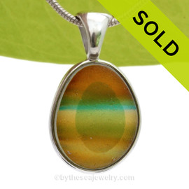 Tropical Horizon - Super Ultra Rare Seaham Sea Glass In Sterling Silver Deluxe Wire Bezel©