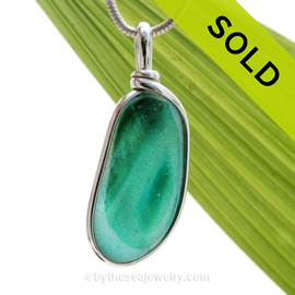 Tropical Spring -  ULTRA RARE Teal Green & Aqua Multi Sea Glass Pendant In Original Wire Bezel Setting©