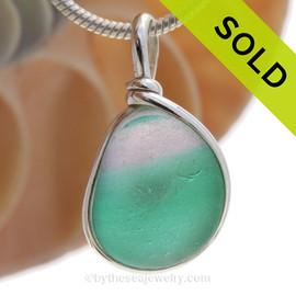 Watermelon Tourmoline - ULTRA RARE Petite Color Sea Glass Pendant In S/S Original Wire Bezel©