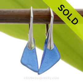 Longer Simply Elegant Petite Genuine Blue Sea Glass Earrings on Solid Sterling Leverbacks