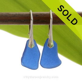 Larger Simply Elegant Petite Genuine Blue Sea Glass Earrings on Solid Sterling Leverbacks