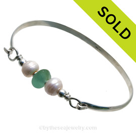 Bright Aqua Green Seaham Sea Glass Premium Bangle Bracelet In Solid Sterling With Pearls