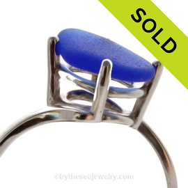 Vivid Cobalt Blue Beach Found Sea Glass In Sterling Ring - Size 8 (Re-Sizeable)