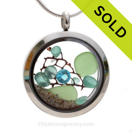 Spring Tides - Genuine Seafoam Green and Vivid Aqua Sea Glass with Crystal Aquamarine Gem