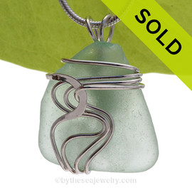 Seafoam Green Sea Glass Sterling Waves© Signature Sterling Setting Pendant