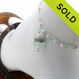 Seafoam and Green Sea Glass on Pearl & Aquamarine & Pearl Chain Sterling Anklet Sterling Clasp. SOLD - Sorry this Sea Glass Ankle Bracelet is NO LONGER AVAILABLE!