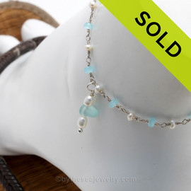 Solid Sterling Simple Lovely Pale Aqua Sea Glass Ankle Bracelet With Pearls and Aquamarine Delicate Chain Handcrafted Solid Sterling on a pearl and aquamarine sterling chain.