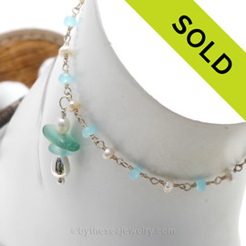 Aqua Blue and Aqua Green Sea Glass on Pearl & Aquamarine & Pearl Chain Sterling Beads Anklet. SOLD - Sorry this Sea Glass Anklet is NO LONGER AVAILABLE!!!