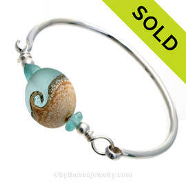 Genuine Hawaiian Aqua Sea Glass Sterling Premium Bangle Bracelet With Lampwork Glass Wave Bead