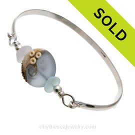 Stormy Beach -Genuine Sea Glass Sterling Silver Bangle Bracelet with Beachy Wave Bead
