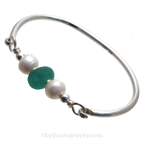 Unusual Bubble Aqua  English Sea Glass combined with real cultured pearls on this Solid Sterling Silver Full round Sea Glass Bangle Bracelet.