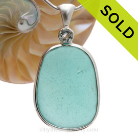 Touch Of Elegance - HUGE Vivid Aqua Blue Sea Glass Pendant In Deluxe Wire Bezel With Genuine Aquamarine Brilliant Gem. SOLD - Sorry This Sea Glass Jewelry Item is NO LONGER AVAILABLE!