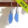 Long slivers of vivid and bold cobalt blue Sea Glass Earrings on Solid Sterling Deco Hooks