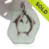 """LARGE Seafoam Green Genuine Sea Glass With Sterling Silver Large Kissing Dolphins Charm - 18"""" STERLING CHAIN INCLUDED"""