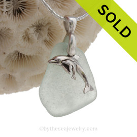 """Mother and Child - Pale Aqua Sea Glass With Sterling Silver Dolphins Charm - 18"""" STERLING CHAIN INCLUDED"""