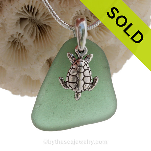 """Jungle Green Sea Glass Necklace with Sterling Silver Sea Turtle Charm - 18"""" Solid Sterling Chain INCLUDED"""
