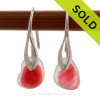 Stunning GENUINE ULTRA RARE mixed Pink Simply Sea Glass Earrings On Silver Deco Earwires