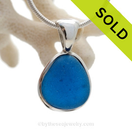 ULTRA RARE - PERFECT Electric Aqua Natural Beach Found Sea Glass In Deluxe Sterling Bezel© Necklace Pendant
