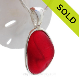 "Red ""Z"" - P-E-R-F-E-C-T Ruby Red Seaham Sea Glass In Sterling Deluxe Wire Bezel© Pendant Setting"