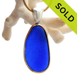 Long and Large Genuine Cobalt Blue Sea Glass In Tiffany Deluxe Wire Bezel© Necklace Pendant