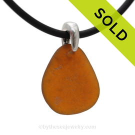 Perfect Amber Brown Natural Sea Glass Necklace Set On Silver Bail With Black Neoprene Cord