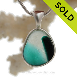 Tropical Flare-  RARE Teal,Green & Pure White Multi Sea Glass Pendant In Original Wire Bezel Setting©