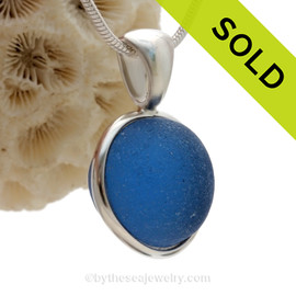 Ultra Rare Vivid Blue English Sea Glass Gemball In Sterling Deluxe Wire Bezel© Pendant (ULTRADELUXE232)