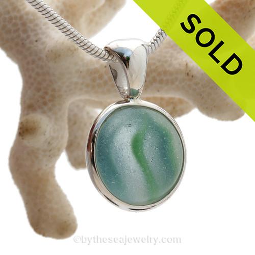 Sea World - Rare Aqua and Green Onionskin Marble Beach Found Sea Glass In S/S Deluxe Wire Bezel© (ULTRADELUXE239)