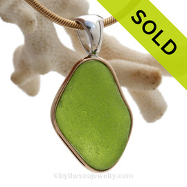 Vivid Chartreuse Lime Green Sea Glass Pendant in our Deluxe Tiffany Mixed Metal Bezel Setting.