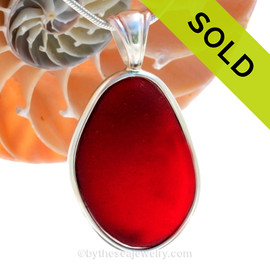 P-E-R-F-E-C-T LARGEST EVER Ruby Red In Sterling Deluxe Wire Bezel© Pendant Setting. SOLD - Sorry this Rare Sea Glass Pendant is NO LONGER AVAILABLE!
