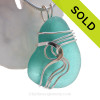 LARGE Vivid ELECTRIC Aqua Or Turquoise Genuine Sea Glass Sterling Waves© Signature Sterling Setting Pendant
