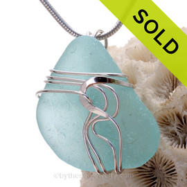 LARGE  Aqua Blue Genuine Sea Glass Sterling Waves© Signature Sterling Setting Pendant