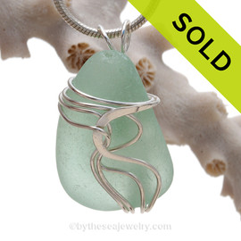 Perfect Fresh Seawater Green Sea Glass Sterling Waves© Signature Sterling Setting Pendant (SSWAVE104)