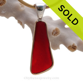 Thin Long Ruby Red Sea Glass Pendant In Tiffany Deluxe Wire Bezel© Gold & Silver Mix