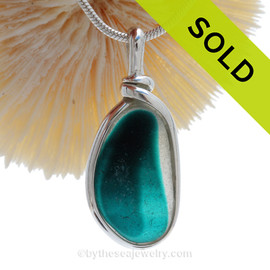 Tropical Teal -  RARE Teal Green & Aqua Multi Sea Glass Pendant In Original Wire Bezel Setting©