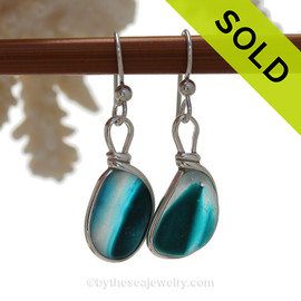 SUPER ULTRA RARE  - Mixed Electric Aqua Teal Sterling English Multi Sea Glass Earrings In Sterling Original Wire Bezel©