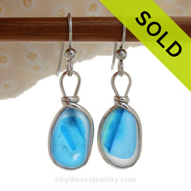 SUPER ULTRA RARE  - Electric Bright Aqua Blue Sterling English Multi Sea Glass Earrings In Sterling Original Wire Bezel©