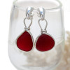 STUNNING and PERFECT Rare Ruby Red Genuine Sea Glass in our Original Wire Bezel© earring setting lets all the color of these beauties shine! A beautiful match of deep Vivid Red sea glass from England. Red is the hope diamond of sea glasses and this perfect pair is a treasure for any sea glass lover!