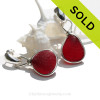 STUNNING and PERFECT Rare Ruby Red Genuine Sea Glass in our Original Wire Bezel© earring setting lets all the color of these beauties shine!
