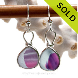 Hartley Heaven- SUPER ULTRA RARE Petite English Art Sea Glass Earrings In Original Sterling Silver Original Wire Bezel©