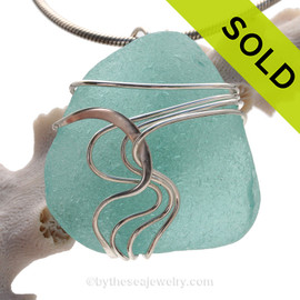 Stunning Large Aqua Blue Sea Glass Sterling Waves© Signature Sterling Setting Pendant