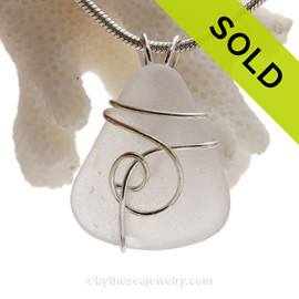 Pure White Genuine Sea Glass In Sterling Sea Swirl Setting Pendant