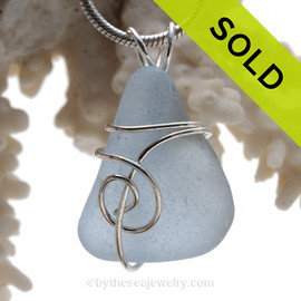 Ice Blue Genuine Sea Glass In Sterling Sea Swirl Setting Pendant