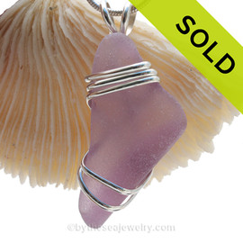 LARGE Chunky Bottom Purple or Lavender Sea Glass In Sterling Deluxe Triple Wire Necklace Pendant