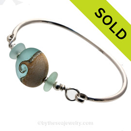 Tropical Wave - Fresh Sea Green Sea Glass Sterling Premium Bangle Bracelet With Lampwork Wave Bead
