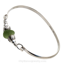 Vivid Bright Jungle Green Sea Glass Sterling Bangle Bracelet W/ sea Life Beads