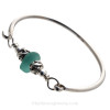 Vivid Tropical Deep Aqua Green Sea Glass Sterling Bangle Bracelet W/ Swimming Dolphin Beads