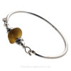Vivid Honey Amber Sea Glass Sterling Bangle Bracelet W/ Swimming Dolphin Beads