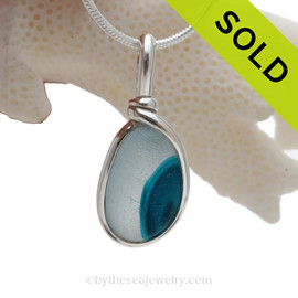 Spot of Teal - Hartley Wood Aqua Seaham Sea Glass Pendant in Sterling Original Wire Bezel©