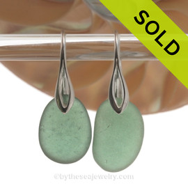 Large Jade Green Sea Glass Earrings on Solid Sterling Deco Hooks